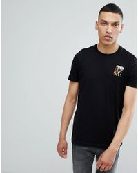 ASOS Black Asos T-shirt With Pizza Embroidery And Pocket for men