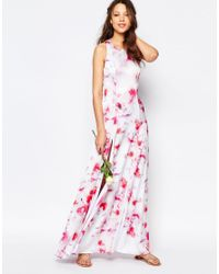 Fame & Partners Pink Asleigh Maxi Dress With Open Back And Side Splits In Floral Print
