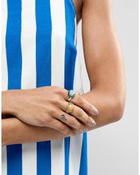 ASOS - Metallic Design Pack Of 3 Burnished Faceted Stone Rings - Lyst