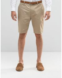 ASOS - Natural Skinny Tailored Mid Length Shorts In Stone for Men - Lyst