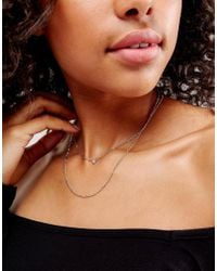 Pieces - Metallic Double Chain Necklace - Lyst