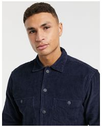 Свободная Вельветовая Рубашка Темно-синего Цвета -темно-синий SELECTED для него, цвет: Blue