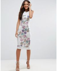 ASOS - Multicolor Placed Floral Strappy Back Pinny Midi Bodycon Dress - Lyst