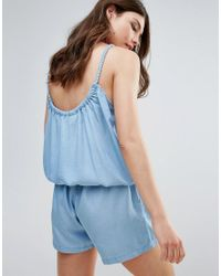 B.Young | Blue Chambray Romper With Cami Straps | Lyst
