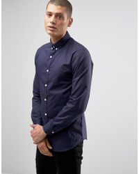 SELECTED   Blue Luca Smart Slim Shirt With Contrast Buttons for Men   Lyst