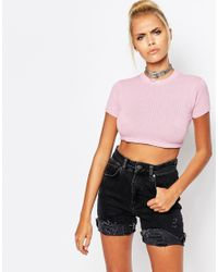 UNIF Pink Mindy Crop Top With Small Logo