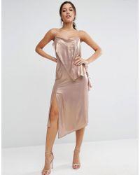 ASOS - Metallic Cami Drape Front Midi Dress - Lyst