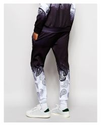 Jaded London - Black Joggers With Ombre Paisley Print for Men - Lyst