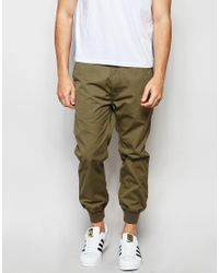 Izzue - Green Chinos With Cuff for Men - Lyst