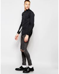 Izzue - Black Shirt With Printed Sleeves In Regular Fit for Men - Lyst