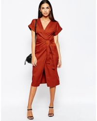 Club L Red Crepe Wrap Over Detail Dress