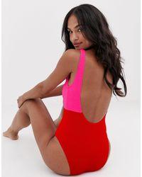 Costume da bagno arricciato rosso acceso colour block di New Look in Red