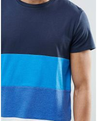 Jack & Jones - Blue Color Block Cut And Sew T-shirt for Men - Lyst