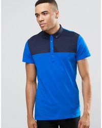 Jack & Jones | Blue Polo Shirt With Quilted Yoke Panel for Men | Lyst