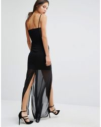 French Connection Black Chantilly Bow Slip Dress