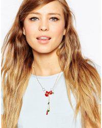 Les Nereides - Red Floral Drop Necklace - Lyst
