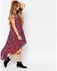 Glamorous Blue Hi Low Hem Vest Maxi Dress In Floral Print