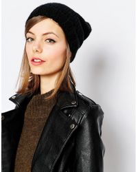 Hat Attack | Black Rib Slouchy Beret | Lyst