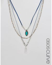 ASOS - Blue Multirow Cord & Bead Necklace - Lyst