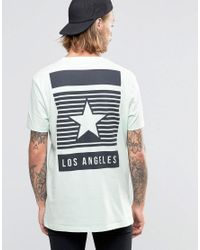 ASOS | Green Longline T-shirt With Los Angeles Star Back Print In Relaxed Skater Fit for Men | Lyst