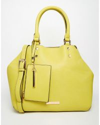 Dune - Yellow Slouchy Tote Bag With Detachable Purse - Lyst