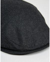 ASOS Multicolor Flat Cap In Charcoal Melton for men