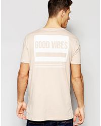 ASOS - Natural Longline T-shirt With Good Vibes Back Print In Pink - Rose Dust for Men - Lyst