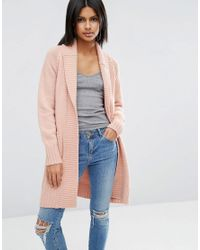 ASOS | Pink Coatigan With Ribbed Back | Lyst