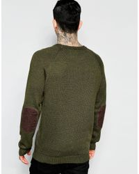 Bellfield - Green Fine Gage Crew Kneck Sweater With Elbow Patch for Men - Lyst