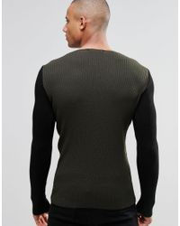 ASOS - Black Muscle Fit Crew Neck Jumper With Contrast Sleeves for Men - Lyst