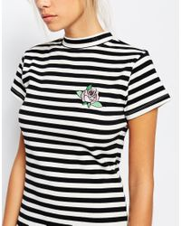 Lazy Oaf | Black Striped Bodycon Dress With Small Rose Embroidery | Lyst