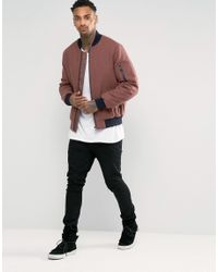 ASOS - Multicolor Wool Mix Bomber Jacket With Ma1 Pocket In Rose for Men - Lyst