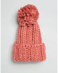 ASOS - Extra Chunky Beanie With Extra Large Pom - Red - Lyst