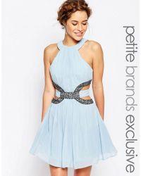 Little Mistress | Blue High Neck Skater Mini Dress With Embellished Cutout | Lyst