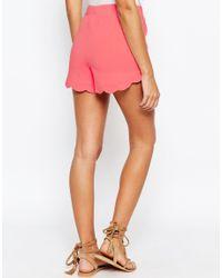 ASOS - Pink Scallop Hem Jersey Shorts - Lyst