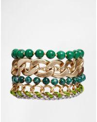 Pilgrim - Green Statament Bracelet - Lyst