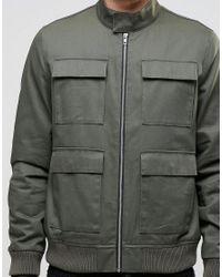 ASOS - Green Harrington Jacket With Four Pocket Detail In Khaki for Men - Lyst