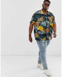 Chemise à imprimé tropical avec col à revers Jacamo pour homme en coloris Black