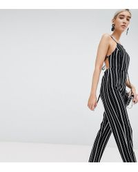 PRETTYLITTLETHING Black Stripe Jumpsuit