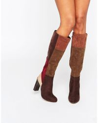 Lost Ink Blue Gypsy Patchwork Heeled Knee High Boots