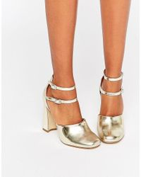Lost Ink Metallic Dancer Double Ankle Strap Block Heeled Shoes