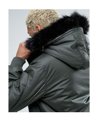 ASOS Natural Coated Parka With Interchangeable Fur In Khaki for men