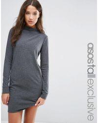 ASOS | Gray Dress In Jumbo Rib | Lyst