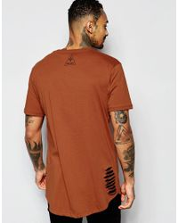 Criminal Damage Red Longline T-shirt With Distressing for men