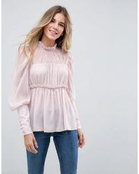 Blusón en mezcla de encaje ASOS de color Pink