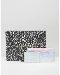 French Connection Boxed Wallet And Card Holder Gift Set In Metallic Mock Croc