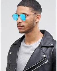 D-Struct - Blue Aviator Sunglasses In Silver With Revo Lenses for Men - Lyst