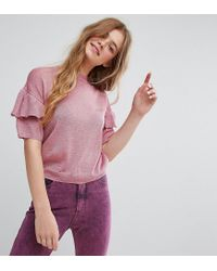 Monki - Pink Knitted Ruffle Short Sleeve Jumper - Lyst