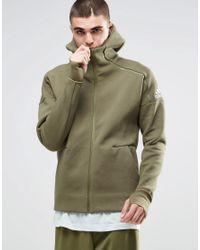 Adidas Originals Green Adidas Zne Hoodie B49256 for men