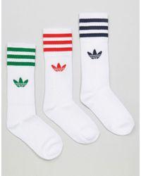 Adidas Originals White Originals 3 Pack Socks In Primary Colours With Trefoil Logo